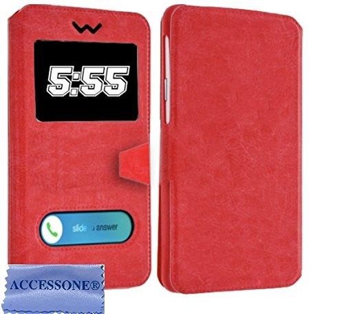 Danew Konnect 501 502 503 504 505 510 525 BM525+ R500 510 Colors (5'' Pouces) Housse Pochette Etui Folio Universelle avec Coque incassable (Etui Rouge)