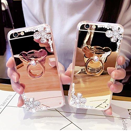 Custodia Cover iPhone 6/6S Plus,Ukayfe Lusso Custodia per iPhone 6/6S Plus UltraSlim Specchio Copertura Case Protettiva con Bling Fiori di Perle e Strass Diamante Design,Moda Serie Completa Screen-Pro Fiore di perla Oro