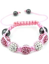 05-Ball Children Kids Girls Boys Petites Teen Pink White Bead Shamballa Bracelet on Pink String