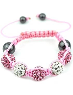 05-Ball Shambala rosafarbene Kinder Shamballa Armband Schnur Weiß Rosa