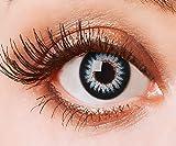 Farbige Kontaktlinsen Blau Ohne Stärke Blaue Crazy Weiche Motiv-Linsen Farbig Halloween Karneval Fasching Cosplay Kostüm Light Ice Blue Schwarz Rand