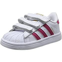 adidas Superstar Foundation CF I - Zapatillas infantil, color blanco / fucsia, talla 23