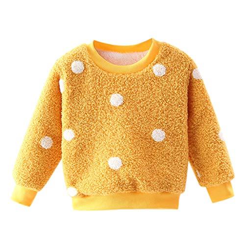Livoral Plus Samt Kleinkind Kinder Jungen Mädchen Dick Pullover Sweatshirt Tops Warme Kleidung Outfits(A-Gelb,3-4 Jahre)