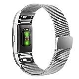 Simpeak Compatible Fitbit Charge 2 Correa (5.25-6.7 Pulgadas), Loop Correa de Acero Inoxidable Reemplazo Wristband Pulseras Bandas Fitbit Charge 2 Fitness con Cerradura Imán Único,Plata