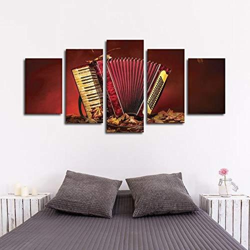 Foagge Vintage Akkordeon Multi Panel Leinwand Wandkunst 5 Stück Hd gedruckt Dekoration -