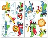 plot4u 16-teiliges Tiere im Flugzeug Wandtattoo Set Kinderzimmer Safari Löwe AFFE Giraffe in 5 Größen (2x16x26cm Mehrfarbig)