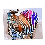 MagiDeal Sich Malen Wandbilder für Wohnzimmer Schlafzimmer, DIY Leinwandbilder Deko - Bunter Zebra
