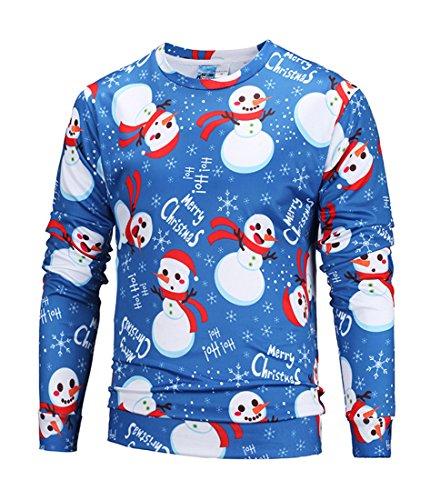 Honeystore Herren Weihnachten Langarmshirt Sweatshirt Niedlich Elche 3D Weihnachts Muster Drucken T-Shirt Blusen Herbst Winter Warme Rundhals Pullover Sweatshirt Tops Schneemann XL
