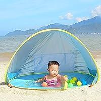 Tienda de Playa para el Bebé NHSUNRAY Instantáneas Refugio con Sistema Pop-up con Mini Piscina Desmontable Protección UV para la familia infantil Camping Picnic Jardín Al aire libre