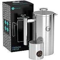 CAFETIERE A PISTON / A PRESSION 1 litre en inox de qualité supérieure avec parois isolantes - Votre café reste chaud longtemps - Boîte de conservation pour café moulu ou en grains offerte