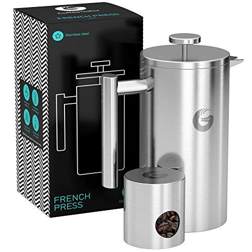 FRENCH PRESS/KAFFEEBEREITER/TEEBEREITER 1 Liter von Coffee Gator - Doppelwandige Französische...