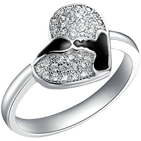 Vmculb Joyería Manera Anillo Chapado en Oro Mujer Plata Forma de Corazón CZ con Circonitas Diamantes Imitación Pavé Anillos de Eternidad