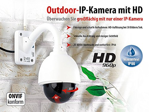 7links WLAN Dome Kamera Outdoor: Speed-Dome Outdoor-IP-Kamera mit HD-Auflösung IPC-440.HD, 960p (Dome Kamera aussen)