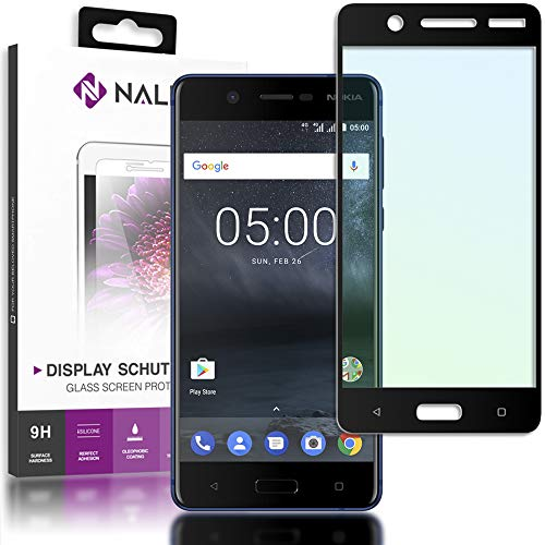NALIA Schutzglas kompatibel mit Nokia 5, Full-Cover Bildschirmschutz Handy-Folie, 9H Glas-Schutzfolie Display-Abdeckung, Schutz-Film Phone HD Screen Protector Tempered Glass - Transparent (schwarz)