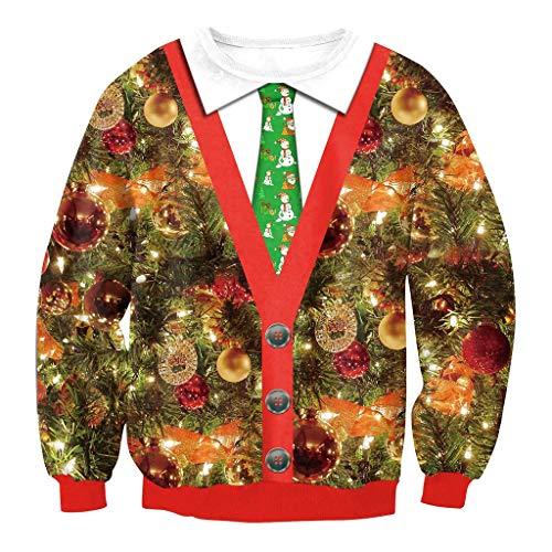 ts-Sweatshirt, 3D-Druck Lässige Crew Nacken Sport Lange Ärmel T-Shirt, Hässliche Weihnachten Lustige Sweatshirt, Rot ()