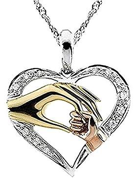 18k Echtsilber Halskette Mutterstolz Baby Hand Mutter Herz Liebe Silber
