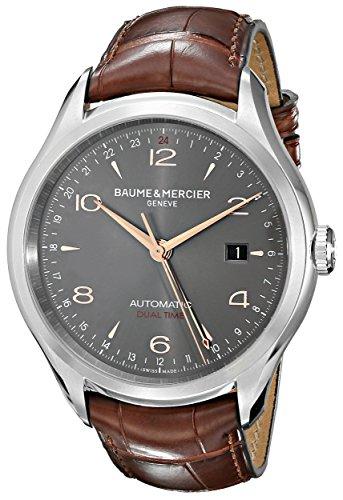Baume e Mercier Clifton grigio quadrante Alligatore in pelle marrone orologio da uomo