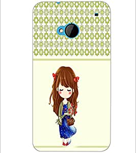 PrintDhaba Cute Doll D-5838 Back Case Cover for HTC ONE M7 (Multi-Coloured)