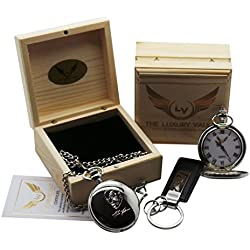Mike Tyson Signed Pocket Watch Silver Plated with Autograph Keyring in Wooden Gift Case Collectors Set for Boxing Fans