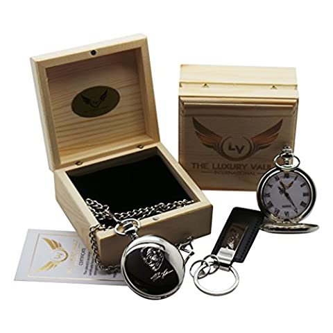 Mike Tyson Signed Pocket Watch Silver Plated with Autograph Keyring