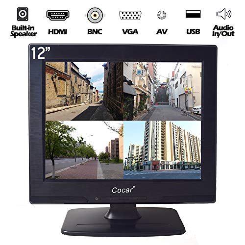 12-Zoll CCTV LCD-Sicherheitsbildschirm VGA HDMI AV BNC, 4:3 800x600 HD-Display(LED-Hintergrundlicht) mit USB-Laufwerksplayer für Heim-/ Shop-Überwachungskamera STB PC oder andere Videoausrüstung (Zoll 12 Hdmi-monitor)