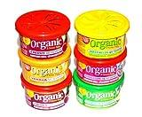 FRUCHT-Sixpack Autoduft Mix 6 L&D Organic Scents Duftdosen. Sortierung: 2 x Cherry,1 x Bubble Gum,1 x Vanille, 1 x Apple, 1 x Melon
