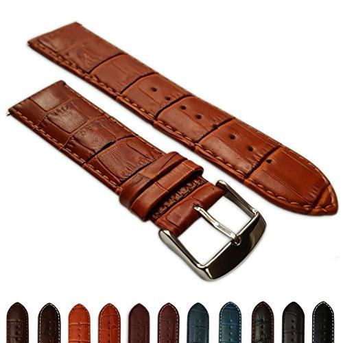 28mm Uhrenarmband echt Leder Mock Croc Band Herren Edelstahl gepolstert Schnalle Tan/Tan Echtes Leder-band