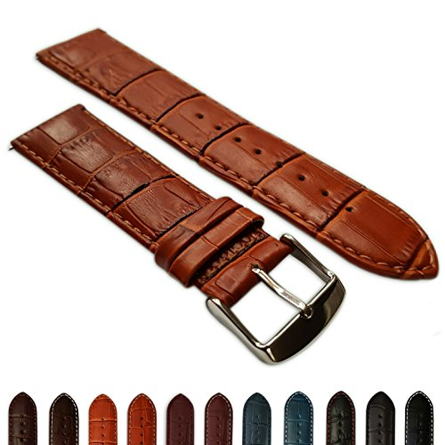 28mm Uhrenarmband echt Leder Mock Croc Band Herren Edelstahl gepolstert Schnalle Tan/Tan (Crocs Armband)