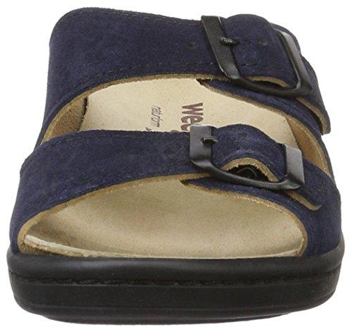 Weeger Damen 14335 Pantoletten Blau (blau met.)
