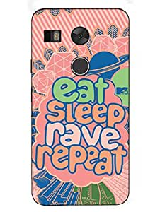 Nexus 5X Cases & Covers - MTV Gone Case - Eat Sleep Rave Repeat - Peach - Designer Printed Hard Shell Case