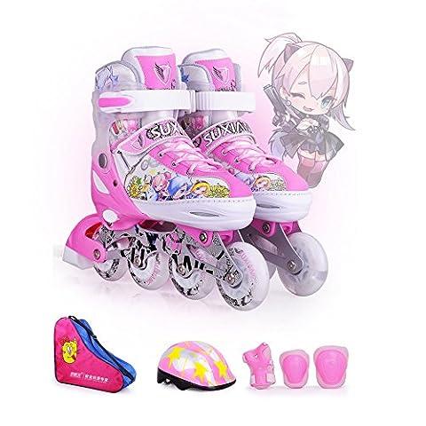Crayom Sicherheit Keine Angst Professional Inline gerade Skates Rollschuh   Kinder Kinder   Frauen   Männer   Einstellbare Größe   30-33 / 34-37 / 38-41   ABEC7 ( Color : Pink S )