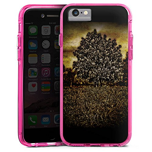 Apple iPhone 6 Bumper Hülle Bumper Case Glitzer Hülle Tree Baum Mystik Bumper Case transparent pink
