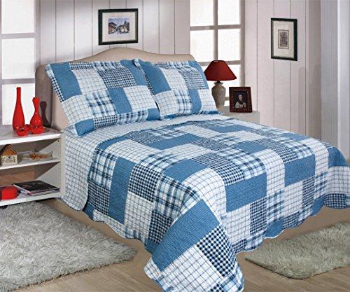 Restmor Tagesdecke Steppdecke mit Quilt Patchwork Design, Zweiseitig - Gesteppter Bettüberwurf - Erhältlich in 3 Größen mit Kissenbezug - Check (King Size inkl. 2 Kissenbezüge)