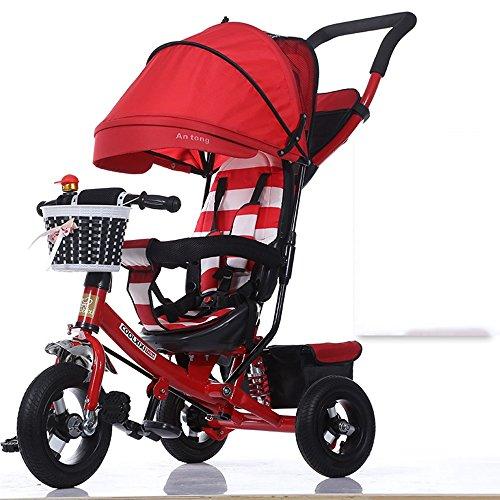 Bambino Triciclo Bicicletta Pieghevole Baby Carriage ( Colore : Rosso , stile : Foam wheel )