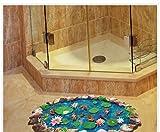 Wandaufkleber DIY Fischteiche 3D Badezimmer Aufkleber,Hevoiok Modern Dekor Wandtattoo Anti-Rutsch-Boden lebenden Lotus Goldfisch Muster Wasserdicht Dekor Tapete Aufkleber (Blau)