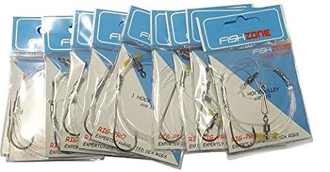 Fishzone Rig Pro Series–10paquets de simple type Commercial de qualité–Crochet simple–Poulie prête à être Attaché Bas de ligne–Idéal pour la mer Surf Jetant la pêche (36,3kilogram principal 30et 22,7kilogram Snood), 10 x single hook - size 5/0 - 50lb snood