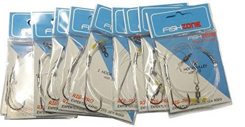 Fishzone Rig Pro Series-10confezioni di tipo commerciale singoli qualità-Gancio singolo puleggia pronto legato Rig-ideale per pesca in mare surf casting (36,3kilogram principale 30e 22,7kilogram Snood), 10 x single hook - size 3/0 - 30lb