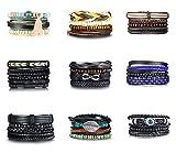 Lafeil Edelstahl Armband Wikinger Armbänder Damen Armband Für Damen Gewebt Armreif Holzperlen Leder Kette Braun 17cm