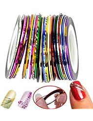 Nail Art Stripes Nail Art Stripes Tape Zierstreifen Packung mit 30 Rollen Striping Tape in verschiedenen Farben