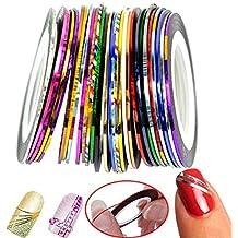 30pcs Multicolor Mixed Colors Rollos Striping Línea de cinta Nail Art Decoración Sticker DIY uñas color