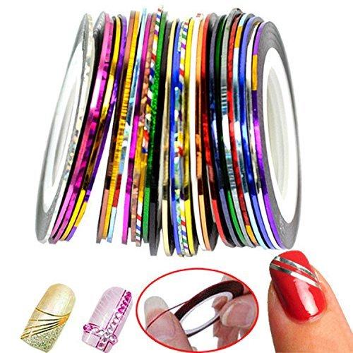 Nail Art Stripes Nail Art Stripes Tape Zierstreifen Packung mit 30 Rollen Striping Tape in verschiedenen Farben (Trockenen Kleben Nagel)