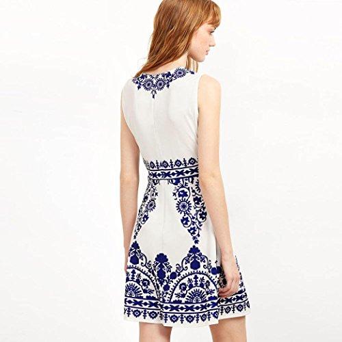 Tonsee Femmes Été sans manches Impression en vrac Casual Mini Dress Blanc