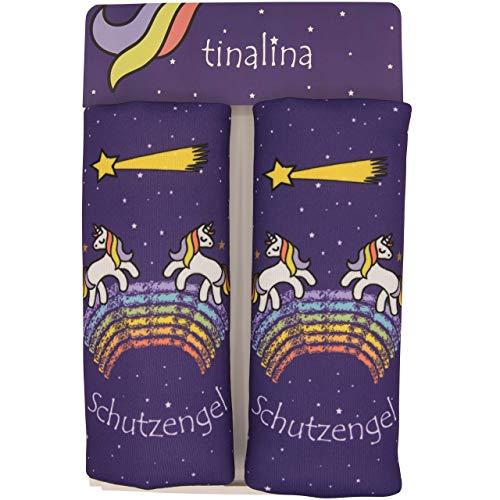 2x Gurtpolster für Kinder, Gurtschoner für Kinder, in Lila für Mädchen, mit einzigartigem Einhorn Tier Motiv für Autogurte & Babyschalen tinalina ®