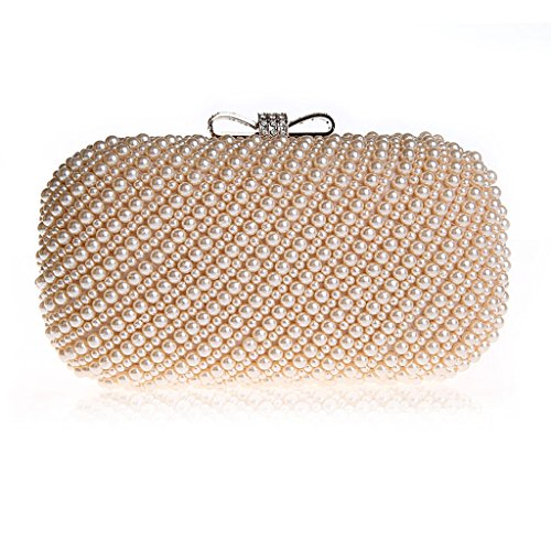 HONGCI Glitter Faux Perle Perlen Braut Handtasche Hochzeit Abend Band Rhinestone Embedded Frame Geldbörse (Pink) (Abend Handtasche Frame)