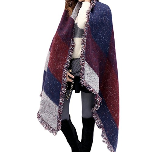 Landove sciarpa donna inverno grande vintage moda elegante tartan style geometric scialle a frange caldo foulard plaid mantella stole sciarpe a quadri pashmina wraps oversize