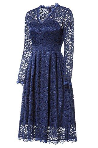 Gigileer Elegante 50s Damen Spitze Langarm Kleid Swing Abendkleid Party Hochzeit Navy