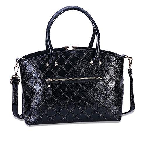 Signore moda colore solido di forma quadrata modello Tote (colori assortiti)-blu Nero