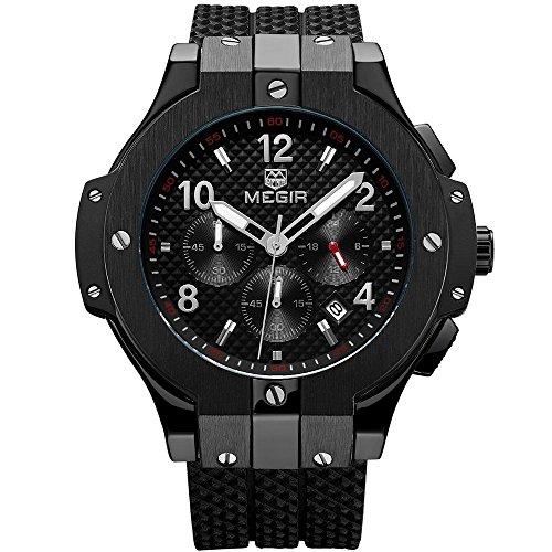 MEGIR Herren Sport Armee Chronograph Quarz Armbanduhren Silikon 24 Stunden Stoppuhr Mann