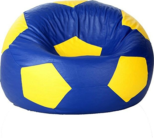 Sultaan Rexine Leather Football Blue & Yellow Bean Bag Cover Without Filler  available at amazon for Rs.699