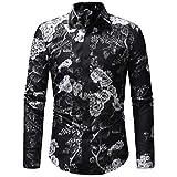 Innerternet Herren Hemd Slim-Fit Langarm Herren Blumenmuster Hemden Freizeit Hochzeit Arbeit Business Super Qualität